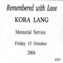 Image of Kora Lang, Remembered with Love, CD1, 2004.