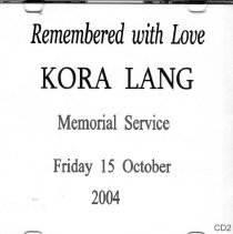 Image of Kora Lang, Remembered with Love,  CD2, 2004