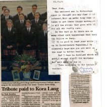 Image of Letter to Joan Sherley and newspaper Tribute to K Lang