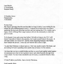 Image of Letter from Gioia re cheque and CD's