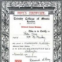 Image of 2004.1.35 cert pianoforte Nov 1933