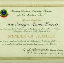 Image of 2004.1.16 Certificate for 'Member of Honour' Mrs Evelyn Annie Harris 1980