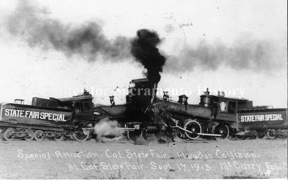 Steam locomotive train wreck