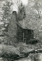 Image of Log Cabin and Stone Chimney  1937 - 2004.1.340