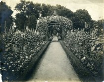 Image of Flower Arch and Urn in Formal Garden  bef. 1924 - 2004.1.434