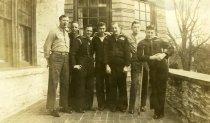 Image of Navy Seamen on Gates Hall (Overlea) Porch  1946 - 2007.27.1