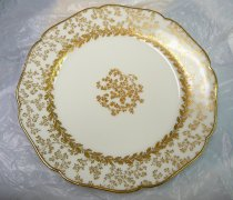 Image of Luncheon Plate  1887 - Lydia's Haviland Limoges porcelain plate.   Quantity 6. Part of  a 18-piece place setting made by Haviland for J. E. Caldwell of Philadelphia.   This set of china was rdonated by the family of Lydia's cook, Nellie Donahue. .    Pattern: SCHLEIGER 10-1 by HAVILAND [H SCH10-1]  Description: H&CO,BLANK 10 WITH GOLD ACCENTS