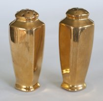 Image of Salt and Pepper Shakers - Gold-covered China Salt and Pepper Shakers