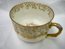 Image of Teacup 1887 - Lydia's Haviland Limoges porcelain teacup with silver birch design.  Quantity 5.   Part of  a 18-piece place setting made by Haviland for J. E. Caldwell of Philadelphia.  Pattern: SCHLEIGER 10-1 by HAVILAND [H SCH10-1]  Description: H&CO,BLANK 10 WITH GOLD ACCENTS
