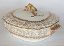 Image of Haviland Covered Vegetable Bowl  circa 1887 - Haviland covered vegetable bowl in silver birch pattern on handles and fitted lid. Poss. soup tureen .  Quantity 2