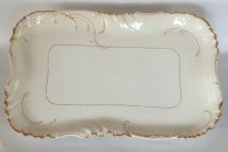 "Image of 19"" Haviland Limoges Serving Platter  aft. 1891 - Ivory Haviland platter with white rectangular center. Quantity 1