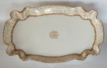 "Image of Haviland Platter or Serving Tray 18""  ca 1887 - Large white gilt Haviland china serving platter or serving tray 18"" long.  Quantity 1.