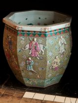 Image of Decorative Chinese Pot - Large ceramic pot from Compton mansion with painted Chinese figures on the outside and painted fish swimming inside.