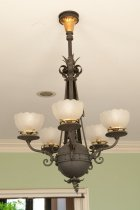 Image of Chandelier  circa 1900 - Brown chandelier with 5 white globes