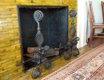 Image of Andirons circa 1890 - Andirons, black, iron. 