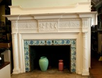 Image of Fireplace  circa 1890 - Fireplace, white wood with blue tiles depicting scenes from Holland, etc.
