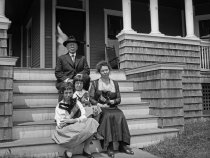 Image of Harshberger Family Seated on Steps of Summer House in Belmar, NJ  1920 - 2011.6.145