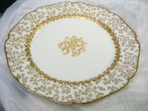 "Image of Luncheon Plate 8 1/2""  1887 - White luncheon plate with gold highlights in a birch pattern.  Quantity 12.