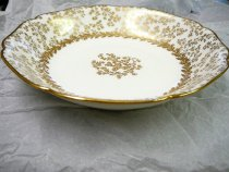 Image of Haviland Bowl with Birch Pattern ca. 1887 - White soup bowls with gold highlights in a birch pattern. Quantity 12. Excellent