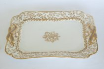 Image of Haviland Platter with Birch Pattern & Silver Ribbons  1887 - Haviland serving platter with silver birch ribboned handles.  Quantity 4..
