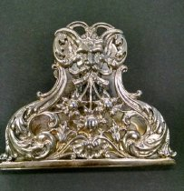 Image of Silver Clip for Letters or Papers - A sterling silver clip for letters or papers - by Gorham with Florentine design and satyr mask.  Stock # B2414.