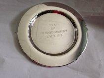 "Image of PNA Tray   1975 - Ceremonial round silverplate tray.  Engraved:  ""PNA  E - 2,  The Morris Arboretum, June 5, 1975  Diameter is 5""."