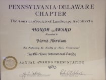 Image of ASLA Franklin Towne Award  1983   - 2014.32.25