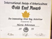 "Image of International Society of Arborculture, 1995 - International Society of Arboriculture,  ""Gold Leaf Award""  For Outstanding Arbor Day Activities""  Presented to Morris Arboretum, 1995;  applied gold seal of the ""IS of A"".  For Outstanding Arbor Day Activities. Commemorative certificate affixed to wood plaque. 