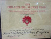 """Image of Philadelphia Flower Show  1984                           - Certificate, Commemorative:  """"1984 Philadelphia Flower Show, produced by the Pennsylvania Horticultural Society"""" for """"Best in Show--Non Profit--Educational""""  Awarded to """"Treasures from the Orient:  Plants for the American Landscape""""  Morris Arboretum of the University of Pennsylvania.  [illegible], Flower Show Chair, Terry [illegible] , President."""