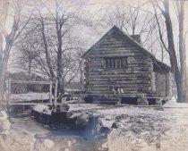Image of Log Cabin in Winter  ca 1911 - 2014.40.31
