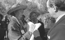 Image of Mrs. Hamilton with Judith Roden and Dr. Klein at the Fernery Dedication 1994 - 2014.42.2.33