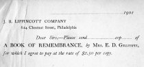 Image of Book of Remembrance receipt   - 2012.2.2.22