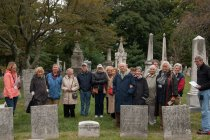 Image of Group photo of participants in Continuing Education trip to Laurel Hill Cemetery  2015 - 2015.49.1