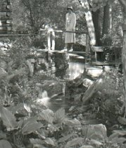 Image of Log Cabin Bridge and Mrs. Samuel Morris  1933 - 2004.1.351LS