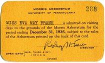 Image of Arboretum Membership Card for Miss Frank 1936 - 2017.19.4