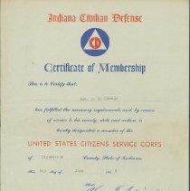 Image of Certificate, Membership - Indiana Civilian Defense Certificate of Membership
