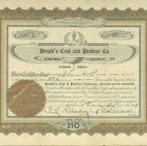 Image of Certificate, Stock - People's Coal and Produce Co.