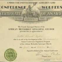 Image of Certificate, Achievement - Conference Workers Certificate of Award