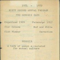 Image of Program - Sixty Second Annual Program, The Sorosis Club