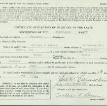 Image of Certificate - Certificated of Election of Delegate to the State Convention of the Republican Party