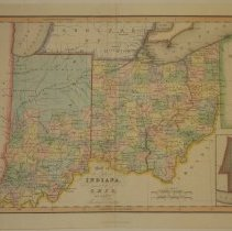 Image of Map - Map of the States of Indiana and Ohio with Part of Michigan Territory
