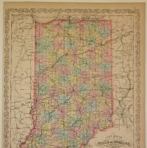 Image of Map - A New Map of the State of Indiana Exhibiting its Internal Improvements, Roads, Distances, Etc.