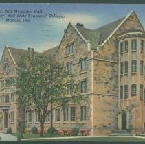 Image of Postcard - F. E. Ball Memorial Hall, Men's Dormitory, Ball State Teacher's College, Muncie, Ind.