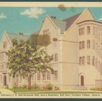 Image of Postcard - View of the Attractive F. E. Ball Memorial Hall, Men's Dormitory, Ball State Teachers' College, Muncie, Ind.
