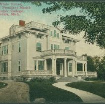 "Image of Postcard - The ""White House,"" Residence of President Mauck of Hillsdale College, Hillsdale, Michigan."
