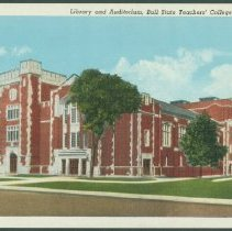 Image of Postcard - Library and Auditorium, Ball State Teachers' College, Muncie, Ind.