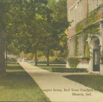 Image of Postcard - Campus Scene, Ball State Teachers College, Muncie, Ind.