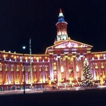 Image of Denver City-County Building, Christmas 1957 - Transparency, Slide
