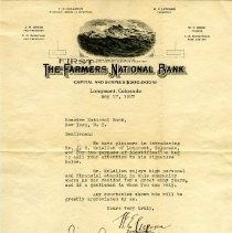 Image of First National Bank Letterhead