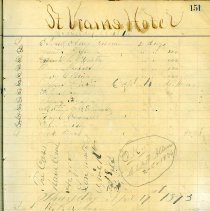 Image of St. Vrain Hotel register, p. 151